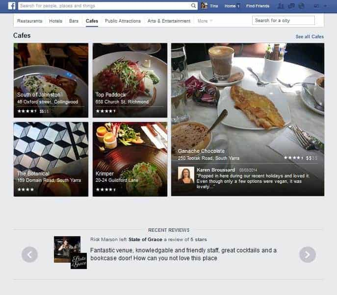 Facebook Places Cafe Search Example