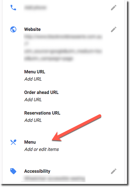 Google Adds Menu Items Link