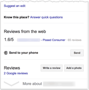 negative review site in knowledge panel