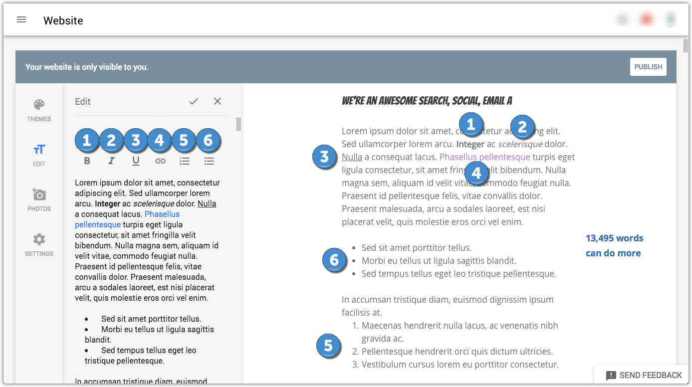 GMB website builder description section with formatting examples