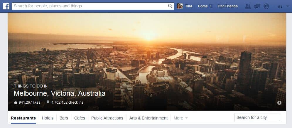 Facebook Places City Search
