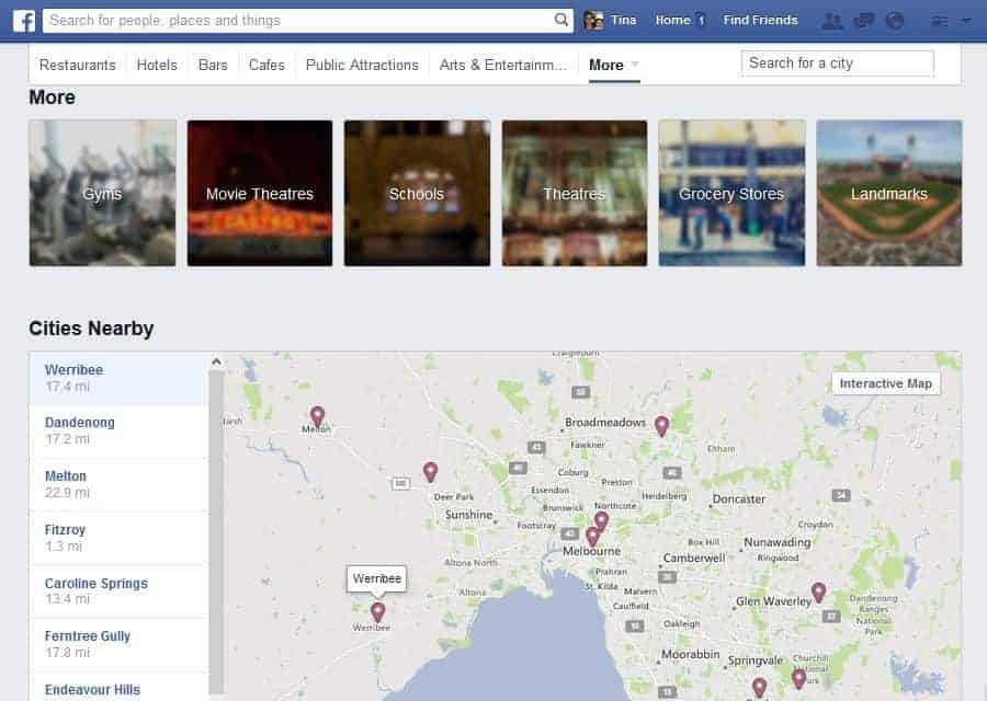 Facebook Places Map Search